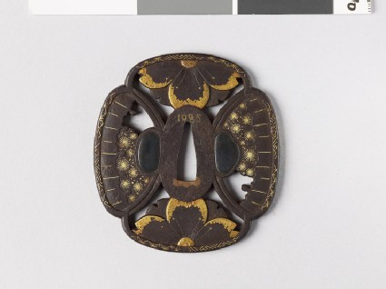 Mokkō-shaped tsuba with cherry flowers and snow heaps
