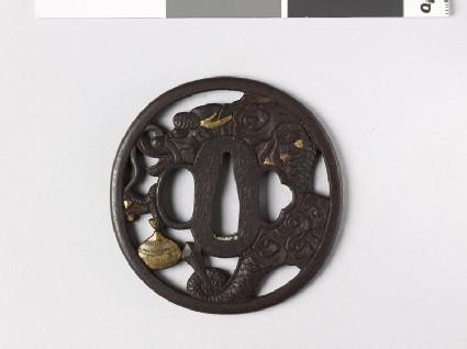Tsuba with dragon and sacred pearl