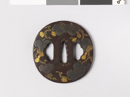 Tsuba with bottle gourd vine