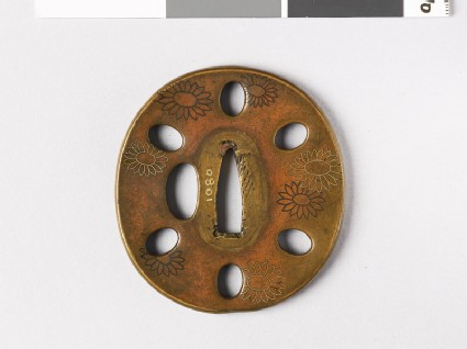 Tsuba with chrysanthemums and oval holes