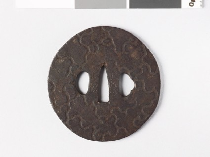 Tsuba with design of insect-eaten wood