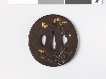 Tsuba with begonia plant and butterflies