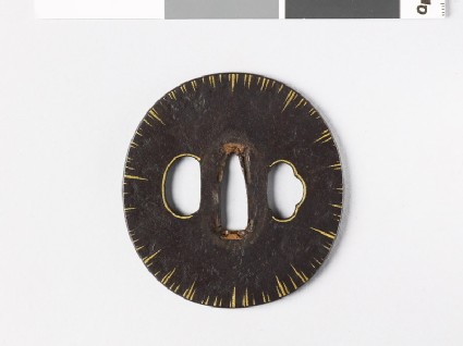 Tsuba with gold striations