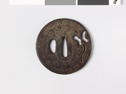 Tsuba with Chinese fan and Cissus leaves