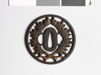 Tsuba with two leaves
