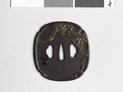 Mokkō-shaped tsuba with wisteria and a swallow