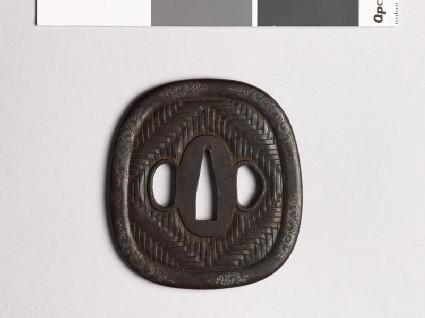 Aori-shaped tsuba with zigzag mat pattern