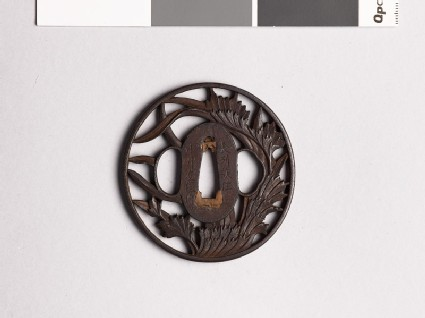 Tsuba with leafy plants