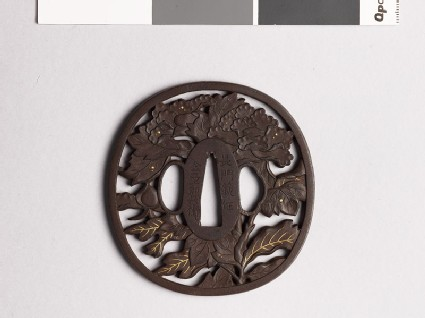 Tsuba with peony plant and dewdrops
