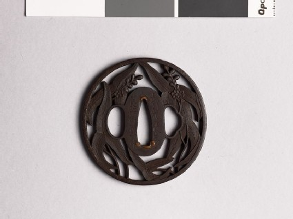 Tsuba with arrowhead leaves and flowers