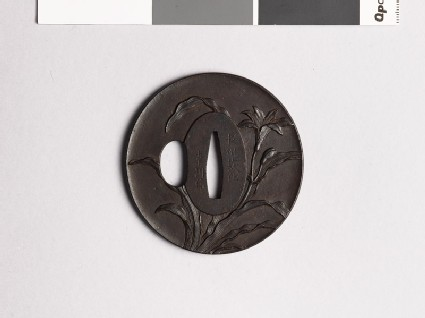 Tsuba with tiger lily plant