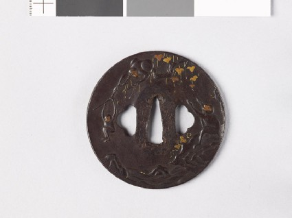 Tsuba with monkey and hawk