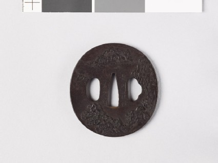 Tsuba with Chinese-style landscapes
