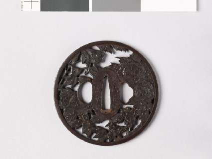 Round tsuba with peonies and dew drops