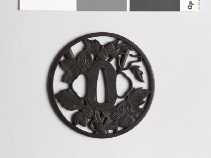 Round tsuba with clematis vine and dewdrops