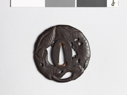 Tsuba in the form of three lotus leaves