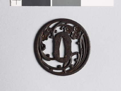 Tsuba with liliaceous plant and dewdrops