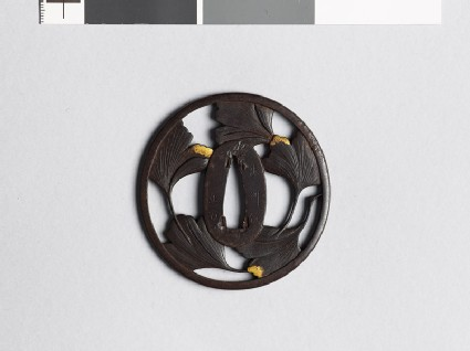 Tsuba with five gingko leaves