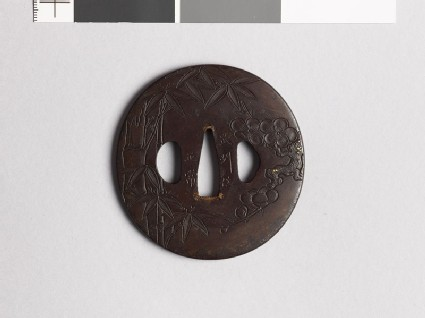 Tsuba with bamboo and cherry