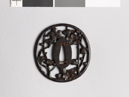 Tsuba with flowering plum branch