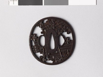 Tsuba with rafts and cherry blossoms
