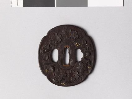 Mokkō-shaped tsuba with cherry blossoms, pine needles, and dewdrops