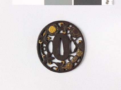 Tsuba with cherry blossoms and parts of a hand drum