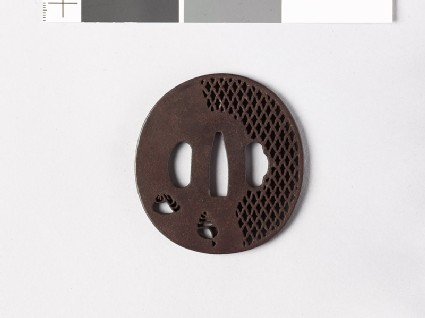 Tsuba with shells and ajiro, or netting pattern