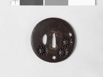 Lenticular tsuba with chrysanthemum flowers