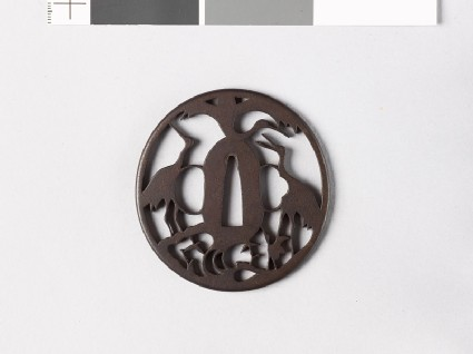 Tsuba with three cranes representing the mythical Mount Hōrai