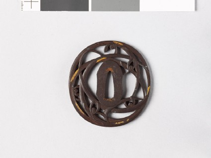 Tsuba with orchids and dewdrops