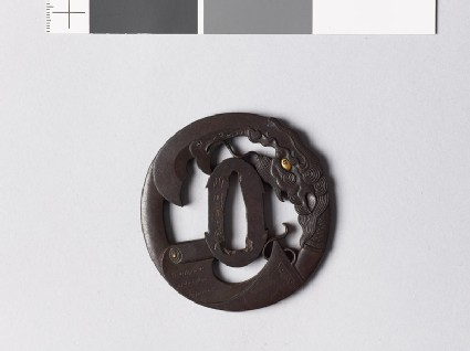 Tsuba with a scroll and the god Kwanu's spear