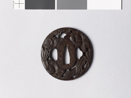 Tsuba with three peonies