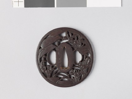 Tsuba with iris plants and bridges in a swamp
