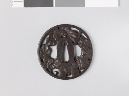 Tsuba with grape vine and dewdrops