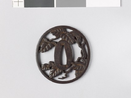Tsuba with a leafy branch, possibly of paulownia