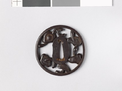 Tsuba with six mushrooms