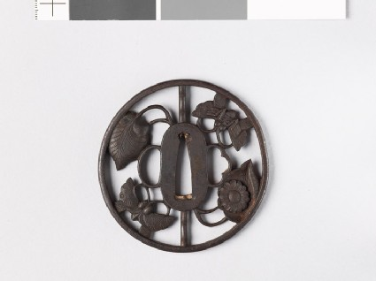 Tsuba with butterflies and aoi, or wild ginger