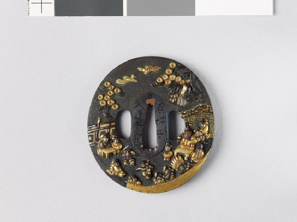 Tsuba depicting a Chinese dignitary watching warriors dance