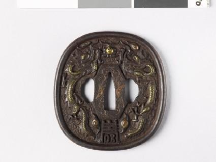 Tsuba with dragons and shishi, or lion dogs