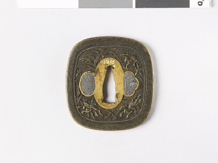 Tsuba with deer among reed plants