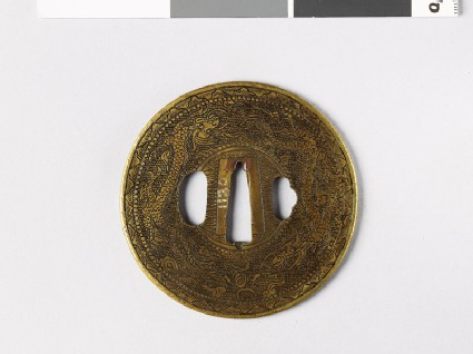 Round tsuba with dragons and Precious Objects