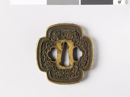 Mokkō-shaped tsuba with Precious Objects and peony stems