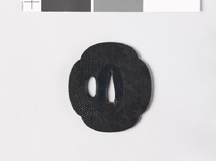 Mokkō-shaped tsuba with punched decoration