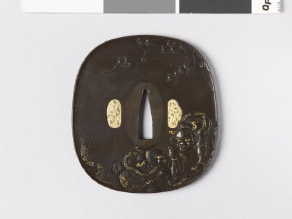 Aori-shaped tsuba depicting Ni-ō, the Two Guardian Gods, hand wrestling