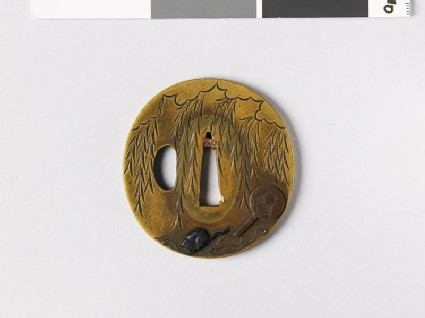 Tsuba depicting a weeping willow and a rat gnawing the cords of a fan