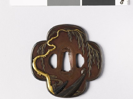Mokkō-shaped tsuba with weeping willow and boats