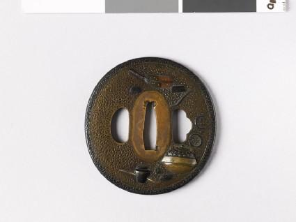 Lenticular tsuba with tea ceremony utensils