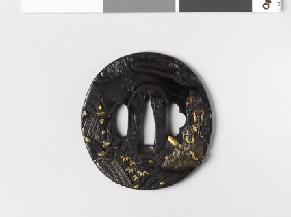 Tsuba with two sennin, or Taoist hermits