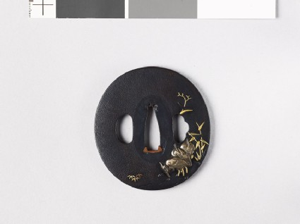 Tsuba with three egrets in a stream